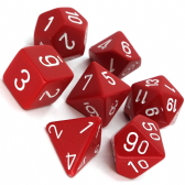 Red & White Opaque Polyhedral 7 Dice Set